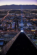 Aerial view of Luxor Hotel the Strip, Las Vegas, Nevada, USA
