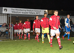 Bristol City U23 walk on to the pitch at Woodspring Stadium - Mandatory by-line: Paul Knight/JMP - 16/11/2017 - FOOTBALL - Woodspring Stadium - Weston-super-Mare, England - Bristol City U23 v Bristol Rovers U23 - Central League Cup