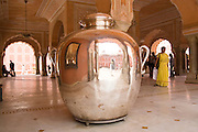 India, Rajasthan, Jaipur The City Palace complex. a large silver water container carried by the Raja's servants on his trip to England, because he believed the water there is contaminated