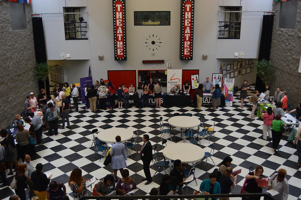 Arts Access Initiative Meet & Greet at HSPVA, where school representatives get a chance to talk to partnering arts organizations.