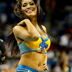 December 1, 2012; New Orleans, LA, USA; A New Orleans Hornets Honeybees dancer performs during the second half of a game against the Oklahoma City Thunder at the New Orleans Arena. The Thunder defeated the Hornets 100-79. Mandatory Credit: Derick E. Hingle-US PRESSWIRE