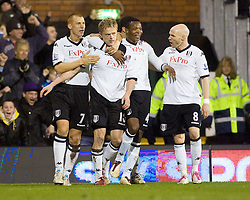 02.02.2011, Craven Cottage, London, ENG, PL, Fulham FC vs Newcastle United, im Bild Fulham's Damien Duff  celebrates his goal with his team mates //  during the Premiership match against Fulham FC vs Newcastle United at Graven Cottage, EXPA Pictures © 2011, PhotoCredit: EXPA/ IPS/ M. Greenwood *** ATTENTION *** UK AND FRANCE OUT!
