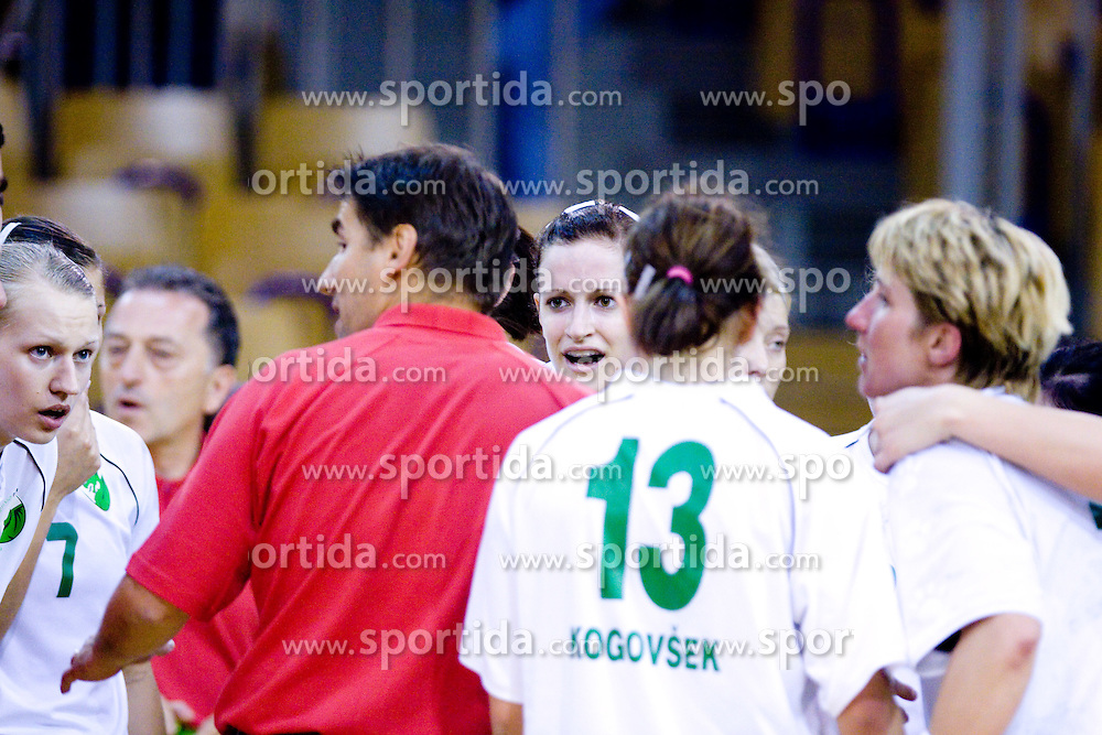 Nusa Skuptnik, Robert Begus, Ana Gros, Vesna Pus at first finals handball match of Slovenian Women National Championships between RK Olimpija and RK Krim Mercator, on May 16, 2009, in Arena Tivoli, Ljubljana, Slovenia. Olimpija won after 10 years vs Krim Mercator 30:28. (Photo by Vid Ponikvar / Sportida)