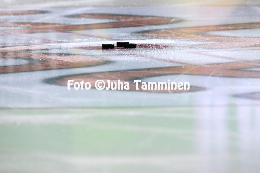 18.12.2015, Hakamets&auml;n halli, Tampere.<br /> J&auml;&auml;kiekon SM-liiga 2015-16. Ilves - HIFK.<br /> Kiekkoja j&auml;&auml;ll&auml;.