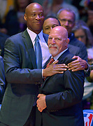 Coach Byron Scott gives a hug to Gary Vitti who like Kobe Bryant, is at his final game as a Los Angeles Laker during home game against the Utah Jazz. April 13, 2016. Los Angeles, CA.  (Photo by John McCoy/Southern California News Group)