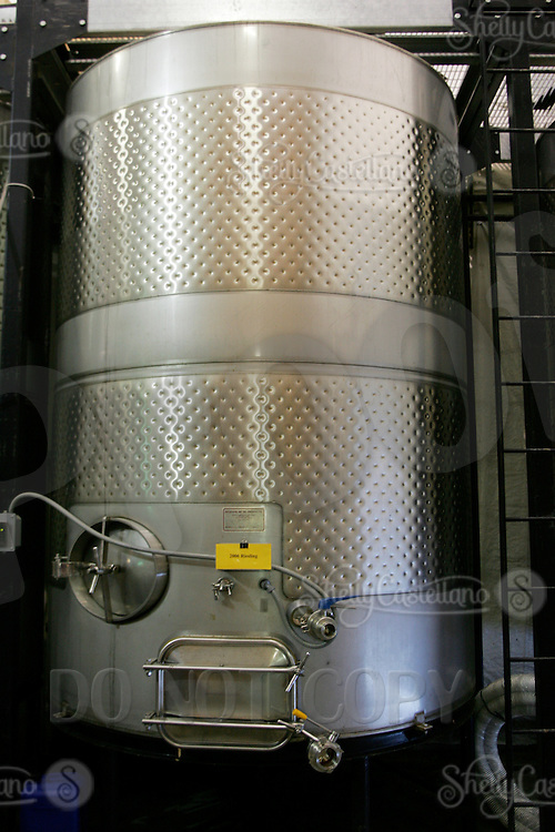10 September 2006:  Large Steel Wine Vat containing 2006 Reisling .  Temecula, California.  Stock Photo