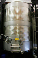 10 September 2006:  Large Steel Wine Vat containing 2006 Reisling .  Temecula, California.  Stock Photo