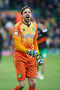 Norwich City goalkeeper Tim Krul (1) celebrates in front of the fans after the EFL Sky Bet Championship match between Norwich City and Queens Park Rangers at Carrow Road, Norwich, England on 6 April 2019.