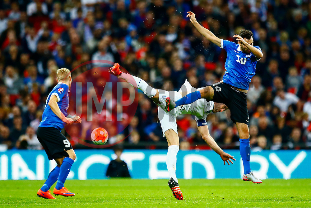Gary Cahill of England and Sergei Zenjov of Estonia jump for the header - Mandatory byline: Jason Brown/JMP - 07966 386802 - 09/10/2015- FOOTBALL - Wembley Stadium - London, England - England v Estonia - Euro 2016 Qualifying - Group E