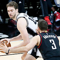 01 May 2017: San Antonio Spurs center Pau Gasol (16) posts up Houston Rockets forward Ryan Anderson (3) during the Houston Rockets 126-99 victory over the San Antonio Spurs, in game 1 of the Western Conference Semi Finals, at the AT&T Center, San Antonio, Texas, USA.