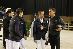"""Lancering """"Ga voor Galop""""<br /> Stefaan Lammens haalt alvast wat tips bij Nicola en Olievier Philippaerts, Johny Pals en Niels Bruynseels<br /> Flanders Horse Expo - Gent 2012<br /> © Dirk Caremans"""