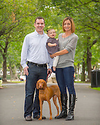 photo of family on Commonwealth Avenue Mall with beautiful vizsla dog and their little girl