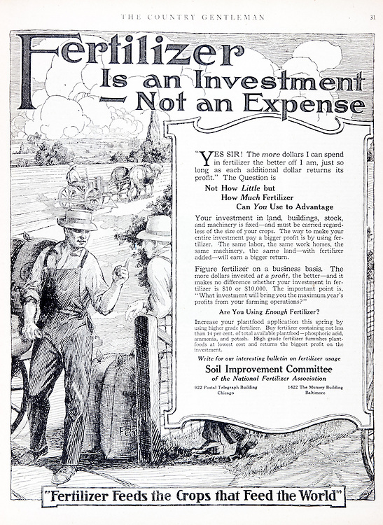 Historic fertilizer advertisement from early 20th century magazine.