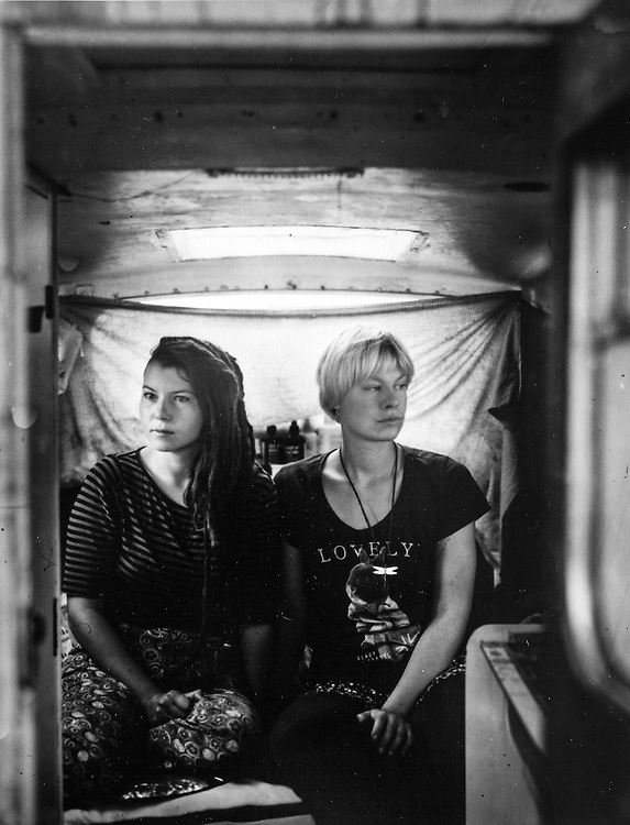 Michaela Davidova and Téra Pechmannova, are two artists, they bought a really small boat without any comfort, only a bed. They moved in a boat to save some money to spend on artistic project and to be closer to the nature. They live there from January 2014.