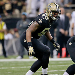 Dec 6, 2015; New Orleans, LA, USA; New Orleans Saints middle linebacker Stephone Anthony (50) against the Carolina Panthers during the second quarter of a game at Mercedes-Benz Superdome. Mandatory Credit: Derick E. Hingle-USA TODAY Sports