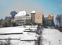 A lovely shot of the buildings of a wintry Lenzburg castle atop it's hill.   Aargau, switzerland.