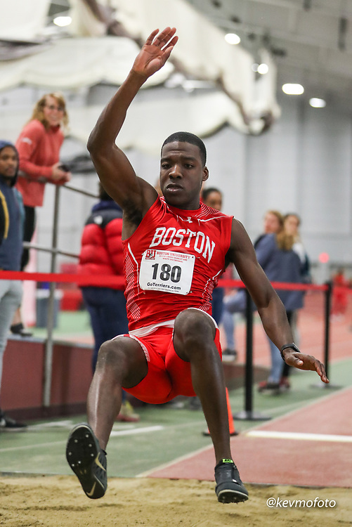 Bruce LeHane Scarlet and White<br /> Indoor Track & Field<br /> BU men long jump, Ibeh, Emeka
