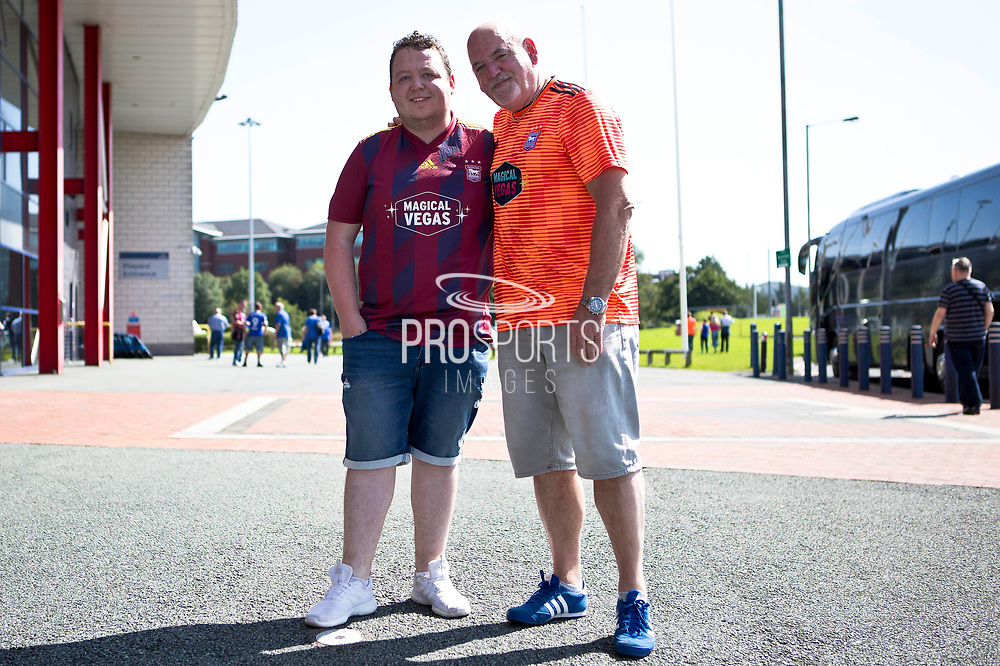 Ipswich Town fans before the EFL Sky Bet League 1 match between Bolton Wanderers and Ipswich Town at the University of  Bolton Stadium, Bolton, England on 24 August 2019.