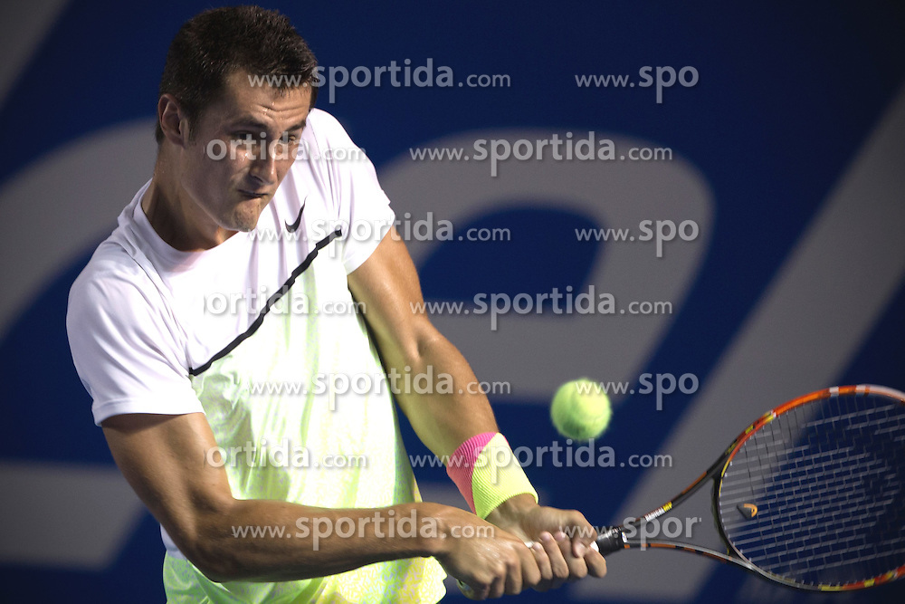 Australia's Bernard Tomic returns the ball during the men's singles match against Spain's David Ferrer at the Abierto Mexicano Telcel tennis tournament in Acapulco, Guerrero, Mexico, Feb. 26, 2015. Tomic lost 1-2. EXPA Pictures &copy; 2015, PhotoCredit: EXPA/ Photoshot/ Alejandro Ayala<br /> <br /> *****ATTENTION - for AUT, SLO, CRO, SRB, BIH, MAZ only*****