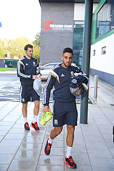 NEWPORT, WALES - Tuesday, October 7, 2014: Wales' Neil Taylor arrives for training at Dragon Park National Football Development Centre ahead of the UEFA Euro 2016 qualifying match against Bosnia and Herzegovina. (Pic by David Rawcliffe/Propaganda)