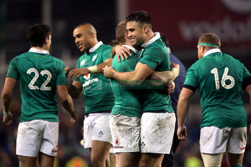 Ireland's Keith Earls (left) and Conor Murray celebrate after the Autumn International match at the Aviva Stadium, Dublin.