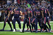 The Houston Texans offense breaks from the huddle after calling a play during the NFL week 8 regular season football game against the Miami Dolphins on Thursday, Oct. 25, 2018 in Houston. The Texans won the game 42-23. (©Paul Anthony Spinelli)