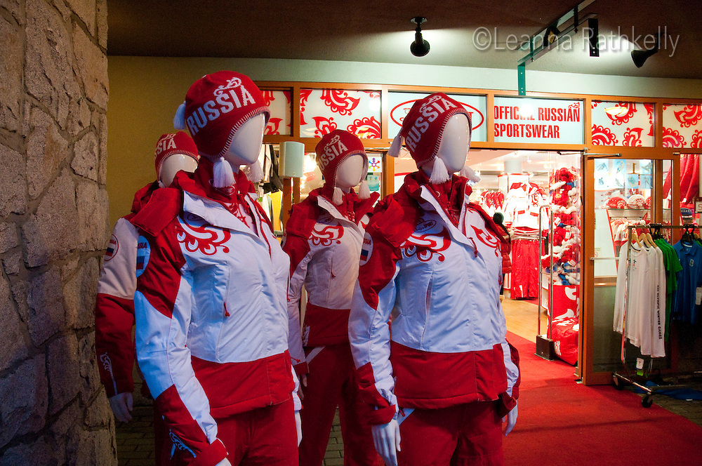 A store in Whistler offers Russian Olympic team clothing during the 2010 Olympic Winter Games in Whistler, BC Canada