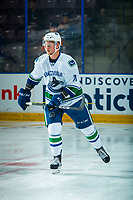 PENTICTON, CANADA - SEPTEMBER 8: Mackenze Stewart #71 of Vancouver Canucks warms up against the Winnipeg Jets on September 8, 2017 at the South Okanagan Event Centre in Penticton, British Columbia, Canada.  (Photo by Marissa Baecker/Shoot the Breeze)  *** Local Caption ***