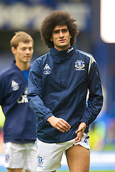 LIVERPOOL, ENGLAND - Sunday, August 30, 2009: Everton's Marouane Fellaini warms-up before the Premiership match against Wigan Athletic at Goodison Park. (Photo by David Rawcliffe/Propaganda)
