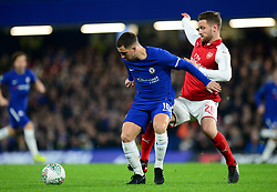 Shkodran Mustafi of Arsenal puts pressure on Eden Hazard of Chelsea - Mandatory by-line: Alex James/JMP - 10/01/2018 - FOOTBALL - Stamford Bridge - London, England - Chelsea v Arsenal - Carabao Cup semi-final first leg