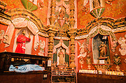 Chapel interior, Mission San Xavier del Bac, Tohono O'odham Indian Reservation, Tucson, Arizona USA