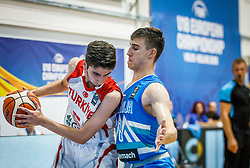 Kucuk Omer of Turkey  vs Nemanic Rok of Slovenia during basketball match between National teams of Turkey and Slovenia in the SemiFinal of FIBA U18 European Championship 2019, on August 3, 2019 in Nea Ionia Hall, Volos, Greece. Photo by Vid Ponikvar / Sportida