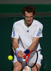 LONDON, ENGLAND - Wednesday, June 22, 2011: Andy Murray (GBR) in action during the Gentlemen's Singles 2nd Round match on day three of the Wimbledon Lawn Tennis Championships at the All England Lawn Tennis and Croquet Club. (Pic by David Rawcliffe/Propaganda)