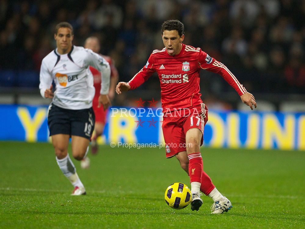 BOLTON, ENGLAND - Sunday, October 31, 2010: Liverpool's Maximiliano Ruben Maxi Rodriguez in action against Bolton Wanderers during the Premiership match at the Reebok Stadium. (Pic by: David Rawcliffe/Propaganda)