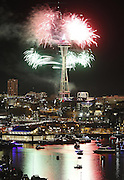 Fireworks explode from the Space Needle as the clock strikes midnight on New Years Eve in Seattle, Thursday, December 31, 2015.<br />