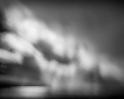 Abstract view of blurred rain and clouds drifting across a bay on the Australian coastline