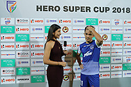 Sunil Chhetri of Bengaluru FC recevied hero of the match award during the final of the Hero Super Cup between East Bengal FC and Bengaluru FC held at the Kalinga Stadium, Bhubaneswar, India on the 20th April 2018<br /> <br /> Photo by: Arjun Singh / SPORTZPICS