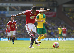 Luis Antonio Valencia of Manchester United has a shot at goal - Mandatory by-line: Jack Phillips/JMP - 07/05/2016 - FOOTBALL - Carrow Road - Norwich, England - Norwich City v Manchester United - Barclays Premier League