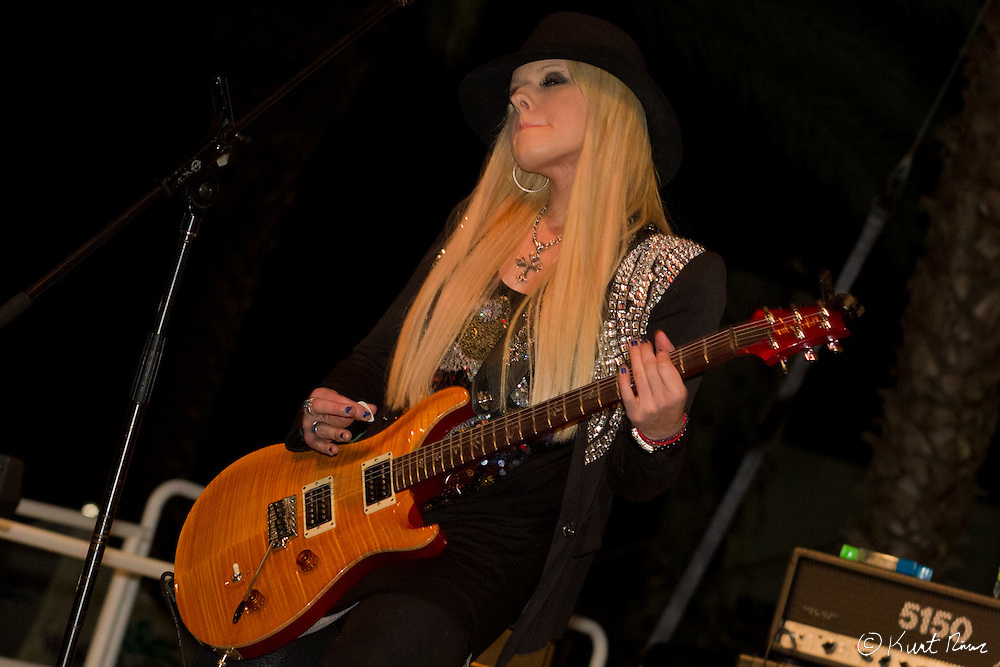 Orianthi performing in the Sprint FANZONE during the Rolex 24 Hour Race at Daytona International Speedway on January 28, 2012 (Kurt Rivers)