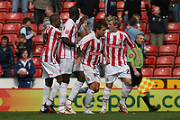 Photo: Pete Lorence.<br />Stoke City v Hull City. Coca Cola Championship. 21/04/2007.<br />Liam Lawrence and team celebrate the opening goal.
