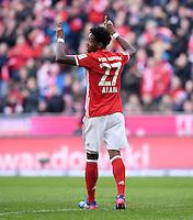 Fussball  1. Bundesliga  Saison 2016/2017  22. Spieltag  FC Bayern Muenchen - Hamburger SV     25.02.2017 JUBEL FC Bayern Muenchen; Torschuetze zum 5-0 David Alaba jubel im Lionel Messi Style