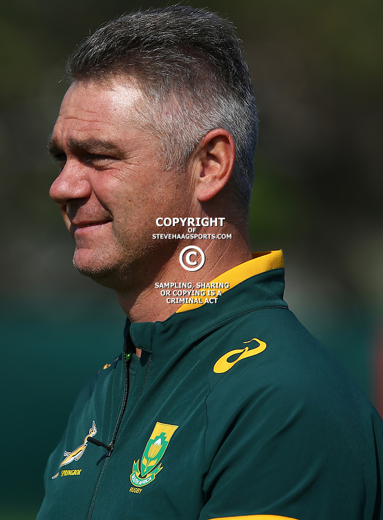 DURBAN, SOUTH AFRICA - AUGUST 24: Heyneke Meyer (Head Coach) of South Africa during the South African national rugby team training session at Peoples Park on August 24, 2015 in Durban, South Africa. (Photo by Steve Haag/Gallo Images)