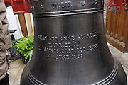 "UK, November 24 2014:  The new tenor bell that will be installed at All Saints East Budleigh church. The inscription on the bell states ""Anne and Brian Horrell married at All Saints East Budleigh 6th June 1959"" . Copyright 2014 Peter Horrell."