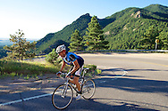 A cyclist climbs Flagstaff Mountain Road in Boulder, CO. © Brett Wilhelm