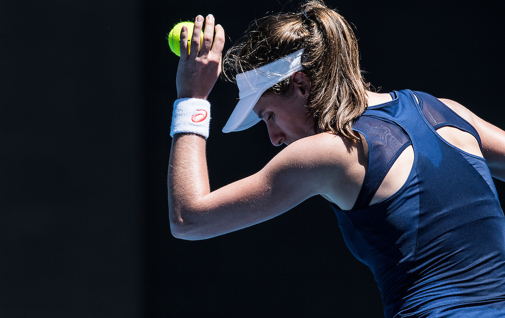 Johanna Konta of Great Britain on day four of the 2017 Australian Open at Melbourne Park on January 19, 2017 in Melbourne, Australia.<br /> (Ben Solomon/Tennis Australia)