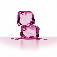 Two melting ice cubes