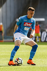 April 8, 2018 - Naples, Italy - Piotr Zieliski (SSC Napoli)..during the Italian Serie A football SSC Napoli v Chievo Verona at S. Paolo Stadium..in Naples on April 08, 2018  (Credit Image: © Paolo Manzo/NurPhoto via ZUMA Press)