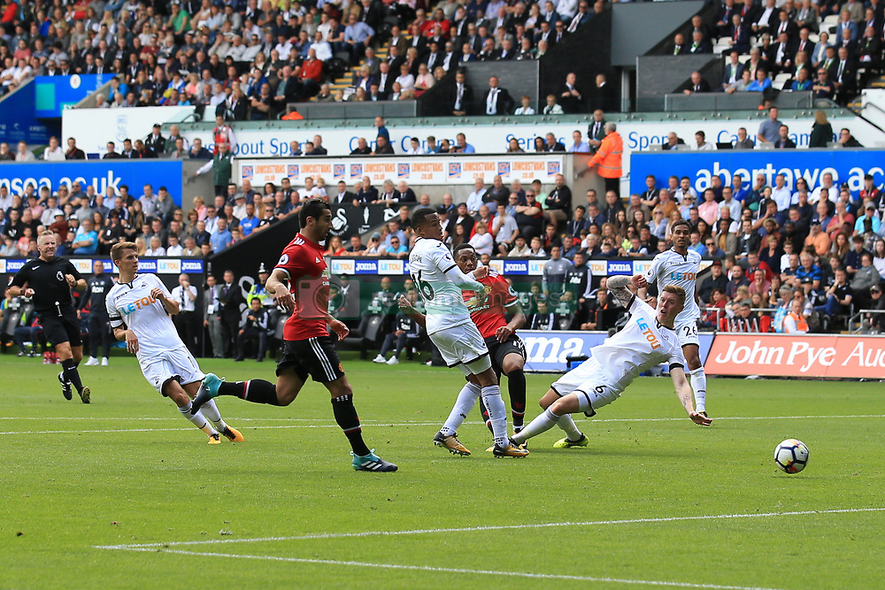19 August 2017 -  Premier League - Swansea City v Manchester United - Anthony Martial of Manchester United scores their 4th goal - Photo: Marc Atkins/Offside