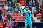 AFC Wimbledon goalkeeper James Shea (1) prior the EFL Sky Bet League 1 match between Charlton Athletic and AFC Wimbledon at The Valley, London, England on 17 September 2016. Photo by Stuart Butcher.
