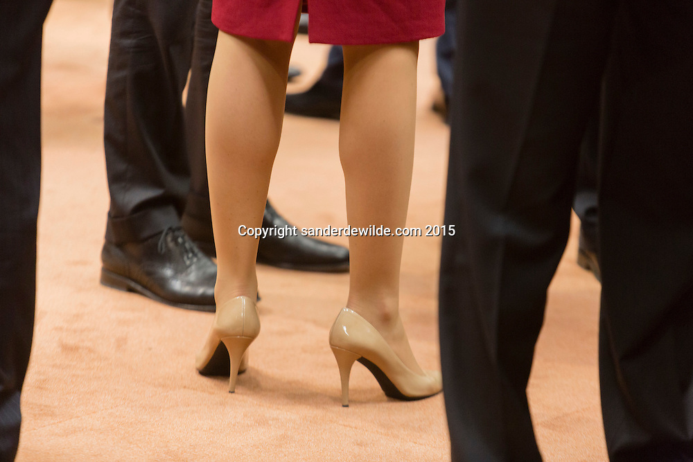 April 23, 2015 in Brussels. European leaders gather on April 23 to consider military action, at an extraordinary summit to deal with a worsening migration crisis after a series of deadly shipwrecks in the Mediterranean.Legs and shoes of Helle Thorning-Schmidt of Denmark